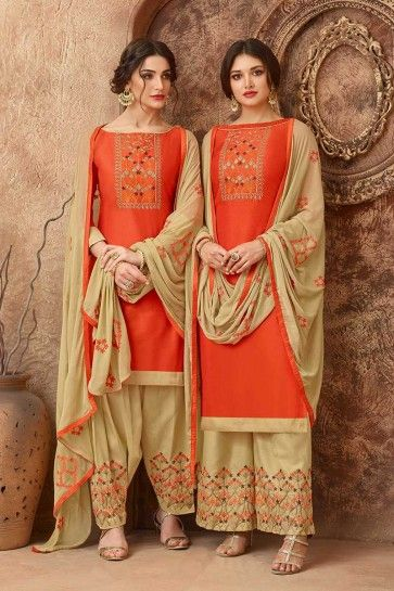 Orange Cotton Palazzo Suit