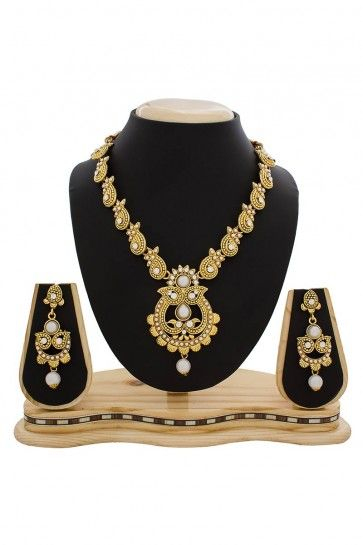 American Diamond, Pearls, Stone & Beads Golden, Green, Maroon & White Necklace Set