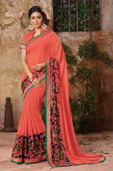 Old Rose Pink Georgette Saree