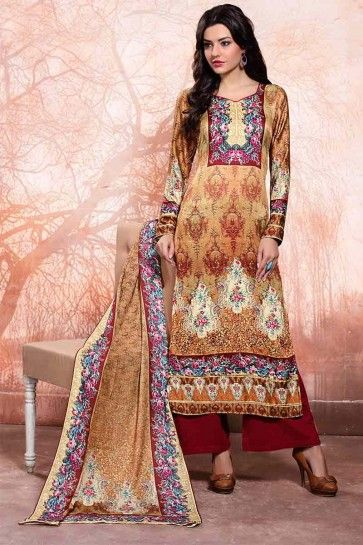 Brown Woolen Satin Salwar Kameez