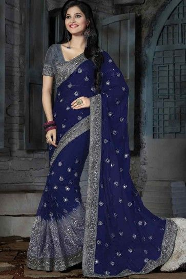 Navy Blue & Grey Chiffon Saree