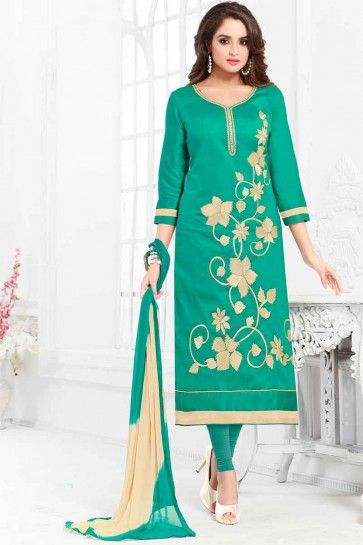 Teal Green Cotton Churidar Suit