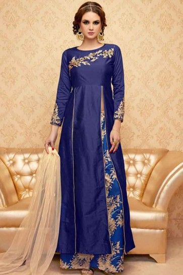 Blue Banglori Silk Anarkali Suit
