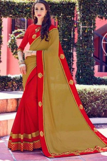 Dark Beige and Red Moss chiffon and Georgette Saree