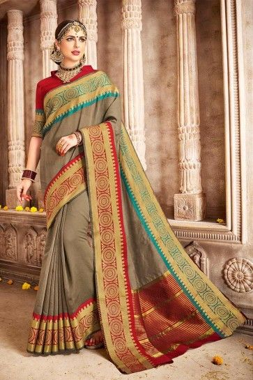 Khakhi color Cotton Silk Saree