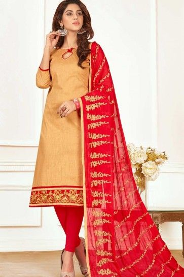 Beige color Cotton Churidar Suit