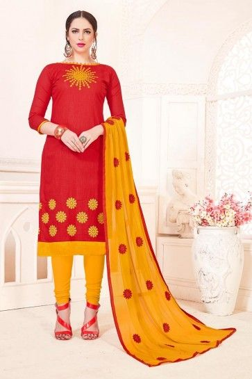 Red South Cotton Churidar Suit