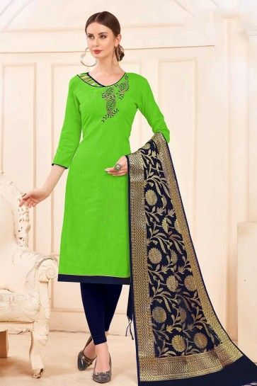 Paroot green Cotton Churidar Suits