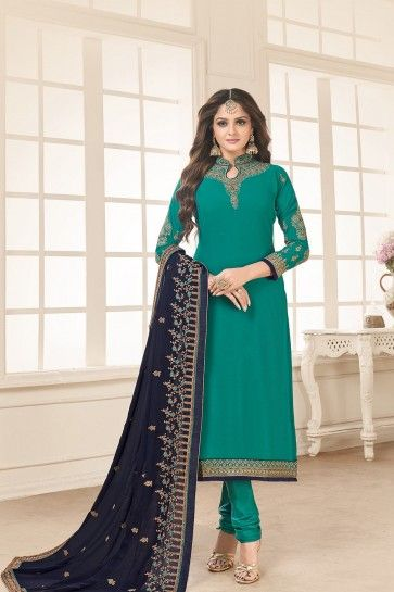 Turquoise blue Georgette Churidar Suits