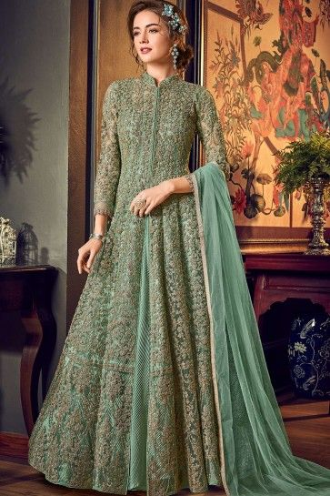Pastel green Net Anarkali Suits