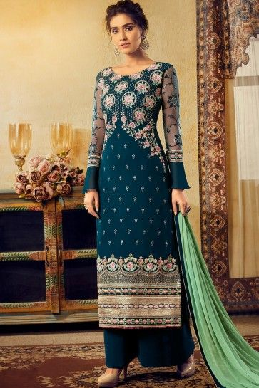 Blue Georgette Palazzo Suits