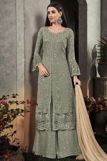 Teal grey Georgette Palazzo Suits