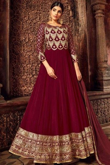 Maroon Georgette Anarkali Suits