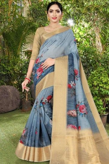 Steel blue Linen and silk  saree