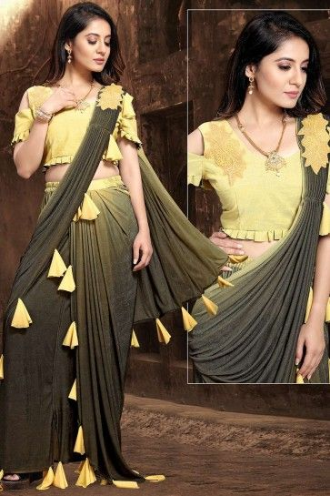 Yellow,black Net  saree