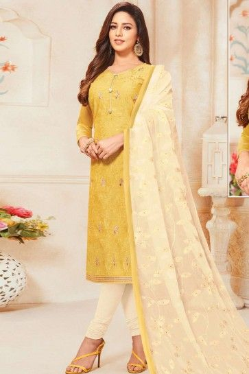 Yellow Silk Churidar Suit