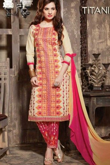 cream Cotton Semi Lawn Salwar kameez