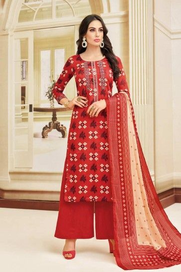 couleur rouge lourd costume palazzo Chanderi