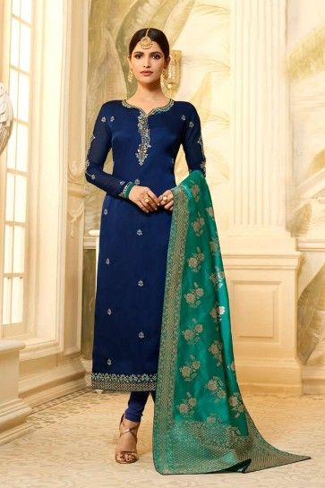georgette de satin couleur bleu marine churidar costume
