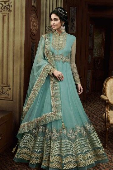 couleur bleu mer costume Anarkali net
