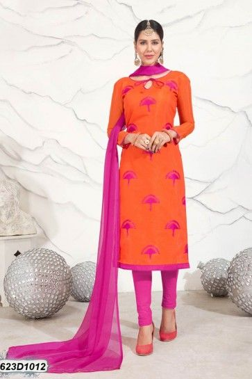 costume orange Chanderi churidar