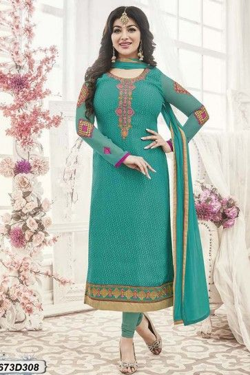 costume couleur turquoise georgette brasso churidar