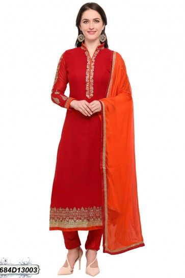 couleur rouge georgette salwar kameez