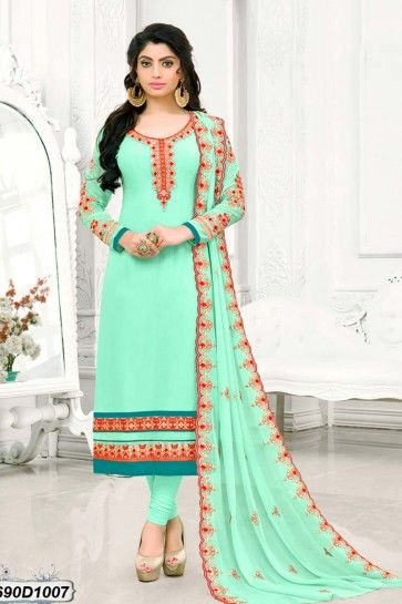 costume couleur turquoise georgette churidar