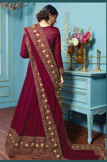couleur du vin costume georgette Anarkali