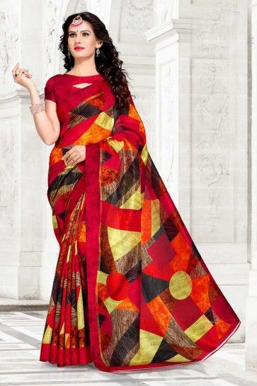 couleur marron Chanderi sari en coton