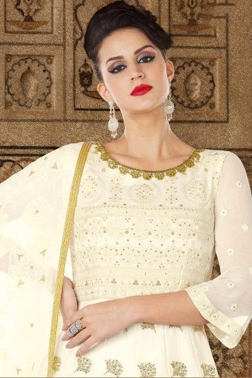 blanc cassé couleur costume georgette Anarkali