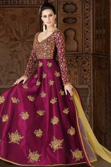 art couleur rose magenta costume soie Anarkali