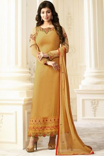 costume couleur beige georgette churidar