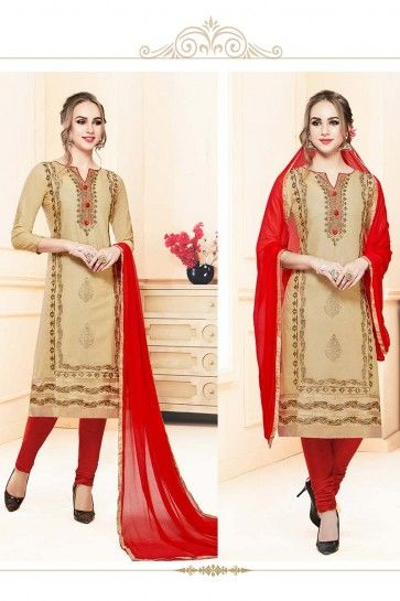 costume coton couleur beige churidar