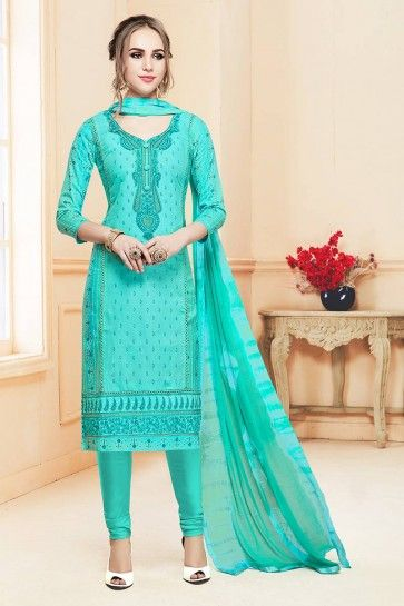coton couleur bleu aqua churidar costume