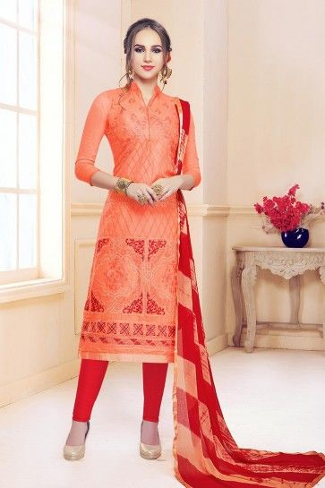costume coton couleur orange churidar
