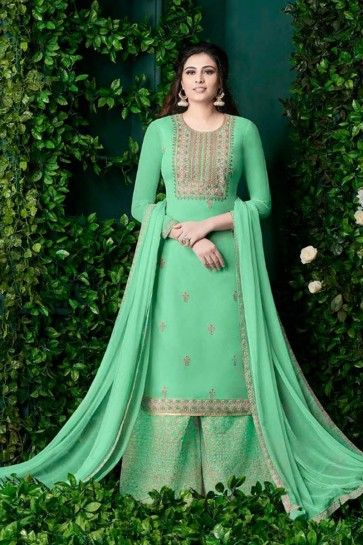 costume couleur vert clair georgette palazzo