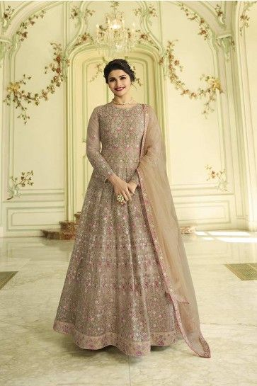 costume net couleur sable gris Anarkali