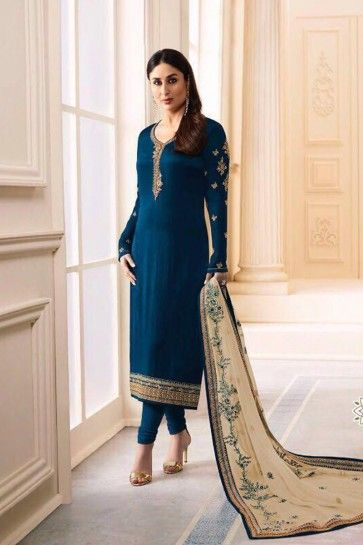 costume couleur bleu churidar satin georgette bleu marine