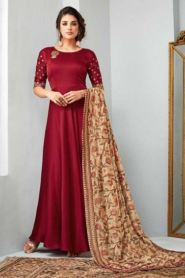 costume de satin de couleur marron georgette Anarkali