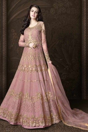 net costume Anarkali couleur rose clair