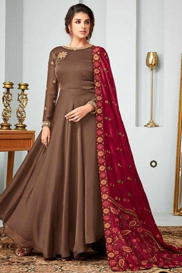 costume de satin couleur beige georgette Anarkali