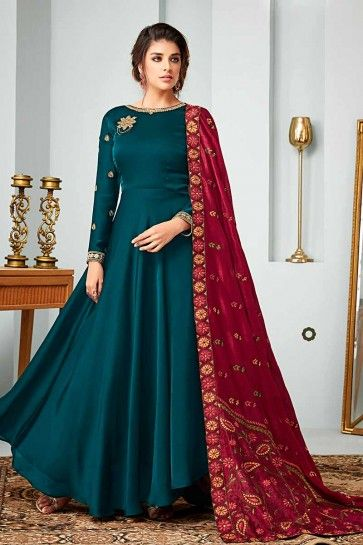 costume de satin couleur bleue georgette Anarkali