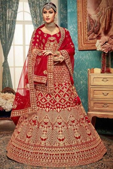 velours couleur rouge lehenga choli