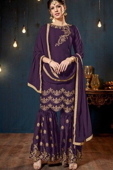 costume georgette violet satin couleur palazzo