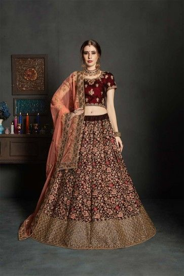 velours couleur marron lehenga choli