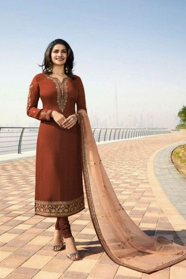 couleur brune georgette costume churidar satin