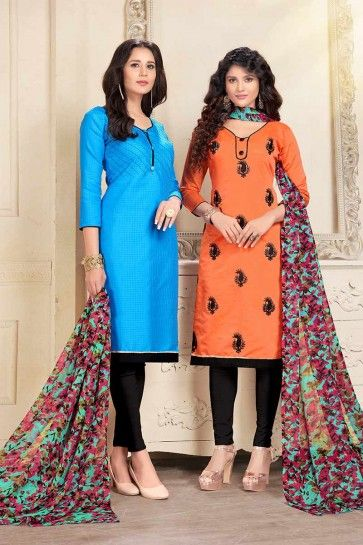 coton de couleur bleu et orange et costume Chanderi churidar