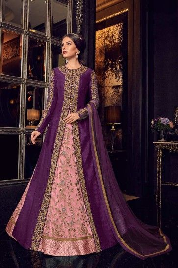 gown- rose / jacket- couleur pourpre robe-net / veste-art costume de soie Anarkali