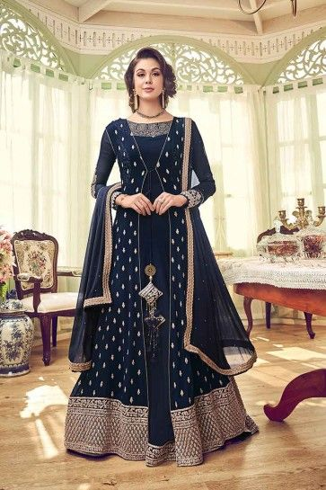costume couleur bleu marine georgette Anarkali